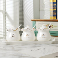 创意欧式调味罐景德镇欧式调味盐罐调味料罐瓶厨房调味盒家用带盖陶瓷调味罐创意