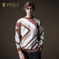 PINLI品立2020秋季新款男装几何落肩套头针织衫毛衣男B203310044