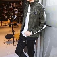 迷彩夹克套装男生春秋运动套装男装迷彩卫衣外套韩版潮流跑步两件一套966
