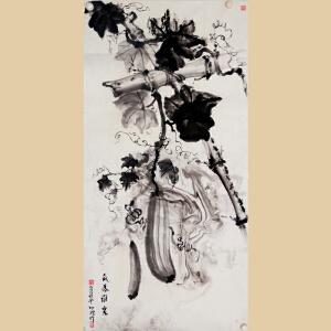 《瓜落谁家》台湾知名画家-吴明礼水墨画【真迹R568】