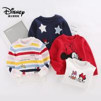 迪士尼童装婴幼童宝宝装2018秋冬新款上衣女童可爱套头毛衣保暖衣