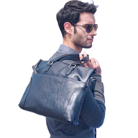 商务包男韩版手提包真皮单肩公文包男士包包约软皮横款电脑包潮 黑色