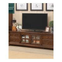 美式电视柜白蜡木纯实木茶几电视柜组合美式乡村客厅美式家具地柜 胡桃色 2.2米 整装