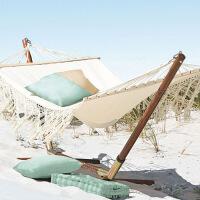 户外吊床双人流苏花边卧室内秋千实木帆布家用网红儿童寝室女 双人海滩流苏吊床不含支架