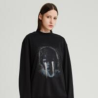 DAZZLE地素 2019冬装新款时髦复古烫钻印花棉质卫衣2G4J1051A