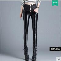 新款潮 加绒皮裤女高腰弹力光泽裤蕾丝紧身PU小脚裤