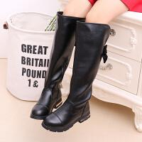 鞋2017秋款韩版女童马丁靴公主高筒靴单靴黑色长筒靴棉靴子
