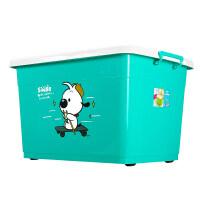 置物箱塑料 收纳箱塑料特大号装衣服大号加厚超大容量储物盒家用整理箱子S 加厚辛巴狗-湖蓝色 超划算套餐:120L+17