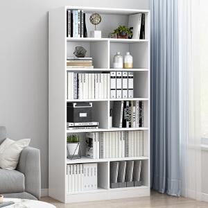 柏易 环保加厚清新款组合钢木书柜 小户型多层书橱组合书架置物架货架展示架
