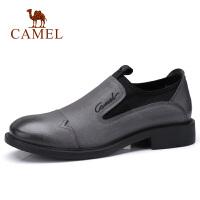 camel骆驼男鞋 秋季新品三接头休闲套脚皮鞋英伦商务牛皮鞋