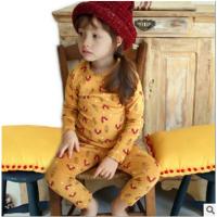 秋装女童中小童纯棉睡衣童装加厚加绒卡通保暖内衣打底套装 印花小鸟黄色加绒