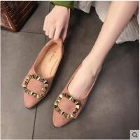 新款百搭韩版平底单鞋尖头豆豆鞋软底瓢鞋仙女工作鞋子