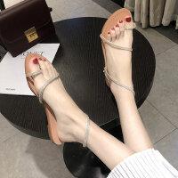 时尚简约沙滩凉鞋女 韩版百搭平底罗马鞋女 气质水钻懒人鞋子女士凉鞋