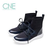 CNE2019秋冬款圆头平底系带运动鞋弹力袜子靴女高帮鞋9M44305