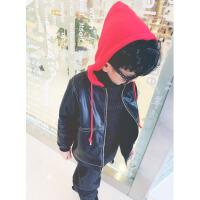 儿童皮衣外套2017新款加绒加厚保暖pu皮秋装韩版长款男童皮夹克 黑色加绒 113皮夹克