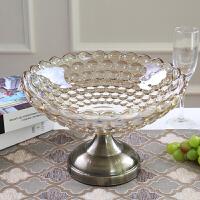 欧式果盘客厅装饰品茶几摆件美式创意现代水晶玻璃水果盘套装Q 水滴果盘