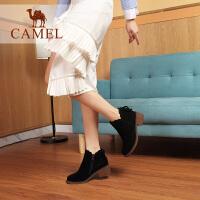 Camel/骆驼女鞋 冬季新品时尚英伦气质荷边蝴蝶结饰拉链短靴