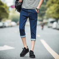 牛仔短裤男修身显瘦薄款破洞7分马裤20韩版潮流百搭男士七分裤