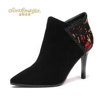 金粉世家 红蜻蜓旗下 秋冬新款短靴女士羊皮女靴尖头细高跟裸靴