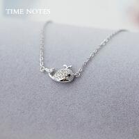 银项链女925银锁骨链可爱鲸鱼银饰品韩版迷你韩国首饰生日礼品