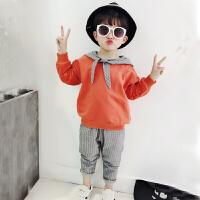 男童运动套装春2018新款中大童帅气休闲纯棉卫衣两件套韩版潮衣3 桔色