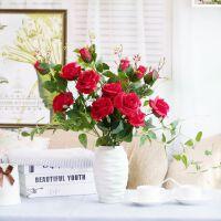 带露珠三头玫瑰 仿真花绢花假花塑料花人造花卉植物 白色大红香槟