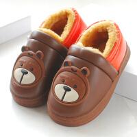 PU皮面儿童棉拖鞋包跟冬季加绒防水保暖男童女童小孩宝宝棉鞋防滑