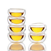 6只装双层耐热玻璃杯50ML耐高温品茗小茶杯玻璃茶杯功夫茶具套装耐热小玻璃杯家用功夫茶小杯