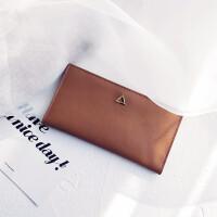 ?薄款长款钱包女2018新款韩版简约时尚柔软对折搭扣钱夹?