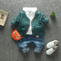新款童装秋装纯色兔毛针织衫 男童儿童宝宝毛衫羊绒衫V领开衫毛衣 9码 建议身高100cm左右