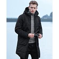 七匹狼棉衣男士冬季新品户外运动连帽中长款防寒加厚外套