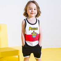 【3件3折到手价:81】小猪班纳童装男童套装2020夏季新款儿童吊带背心裤子两件套纯棉