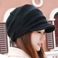 帽子女冬天韩版潮百搭时尚英伦鸭舌帽加绒针织帽毛线帽冬季保暖帽 M(56-58cm)