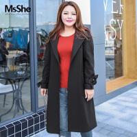 MsShe大码女装2018新款春装200斤胖mm优雅OL翻领风衣长款M1813037