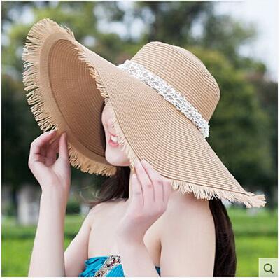 帽子女士大沿帽韩国遮阳帽女大檐防晒沙滩帽 韩版草帽太阳帽