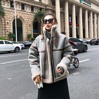 羊羔毛外套女短款2018新款韩版宽松bf加厚机车学生冬季