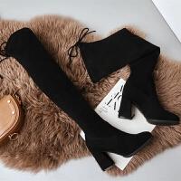 过膝长靴女2018秋冬新款高跟显瘦弹力靴粗跟高筒靴尖头长筒靴子 黑色(跟高5 单里)
