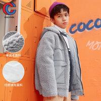 【3件2折�A估�r75元】棵棵�渫��b2020年冬季新款男中大童棉服羊羔毛�和�棉衣洋�馔馓�