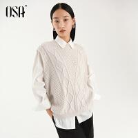 【3折折后价:339元】OSA欧莎2021年秋季新款叠穿100%美丽偌纯羊毛针织毛衣马甲女