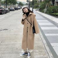 秋冬女装韩版中长款连帽休闲赫本风呢子大衣学生宽松加厚毛呢外套 均码