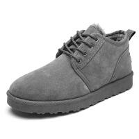 新款雪地靴男鞋秋冬季潮鞋子男士短靴加绒保暖棉鞋男反绒皮面包鞋男
