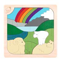 【特惠】Hape多层情景拼图-晴空与龙卷风6岁+早教启蒙木制玩具积木拼插拼图拼板E6518