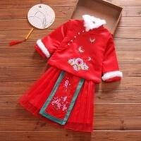 女童唐装套装拜年服加棉中国风中式棉袄上衣小女孩新年唐装 红色(送红色貂毛发饰一对)