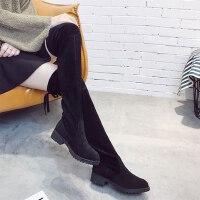韩版过膝靴女靴子时尚百搭高筒靴低跟女士长靴女鞋秋冬季新款