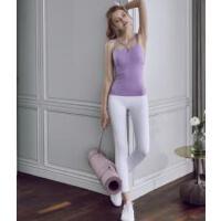 紧身瑜伽服上衣女带胸垫专业运动吊带背心健身房聚拢美背性感文胸