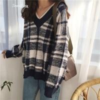 韩国新款气质拼色格子毛衣女学院风V领针织衫套头上衣