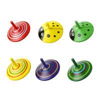 6个装小陀螺手动旋转幼儿园儿童宝宝木质玩具小孩子木制玩具