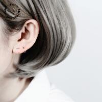 简约一字耳骨迷你s925纯银小耳圈耳钉女韩国百搭学生耳环耳饰