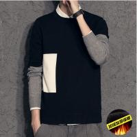 201808270459389342018新款冬季男士假两件加绒加厚针织衫韩版修身毛衣衬衫领保暖打底衫潮