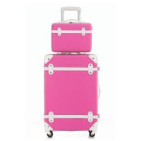 韩版复古行李箱化妆箱女万向轮拉杆箱成套子母箱旅行箱包登机箱14寸20寸24寸可商务
